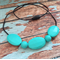 Silicone Turquoise Oval Teething Necklace | Chew Jewellery | Baby Nursing